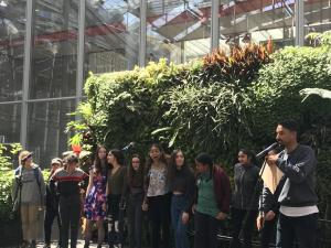 Student poets on stage at the California Academy of Sciences